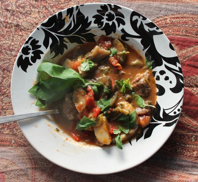 Chanakhi (Lamb stew with eggplant and potatoes)