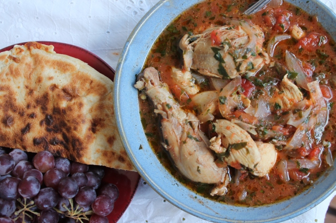 Chakhokhbili (Chicken stew with tomatoes and herbs)