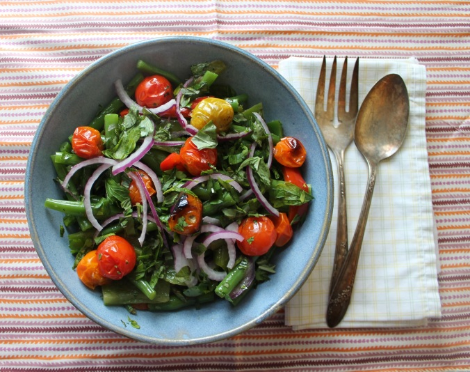Green Bean Salad with Peppers and Roasted Cherry Tomoatoes