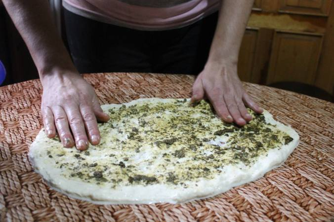 Sulguni cheese spread with mint ajika for gebzhalia, a regional specialty in Samegrelo