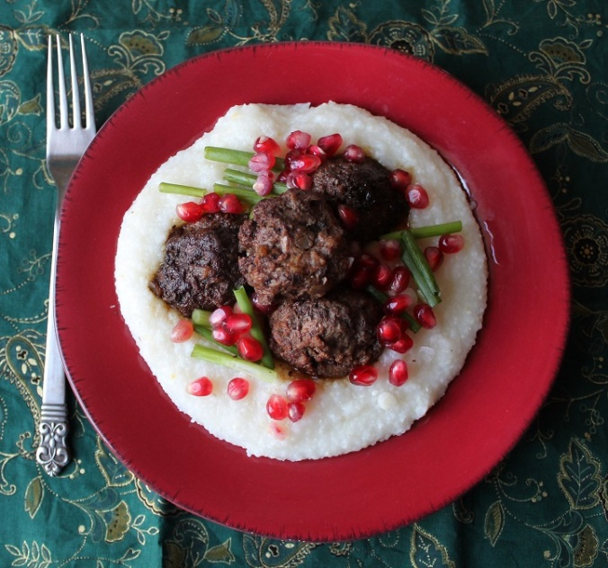 Grits with Pomegranate Meatballs cropped
