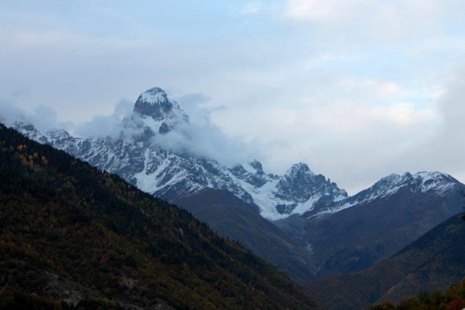 A side view of Mount Ushba, one of the Caucasus' most notoriously difficult climbs, taken from the road between Etseri and Mestia