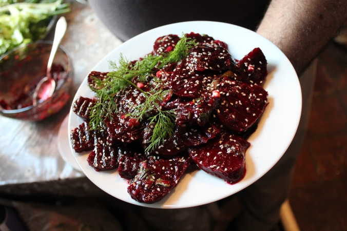 Beet salad with tkemali plum sauce and dill