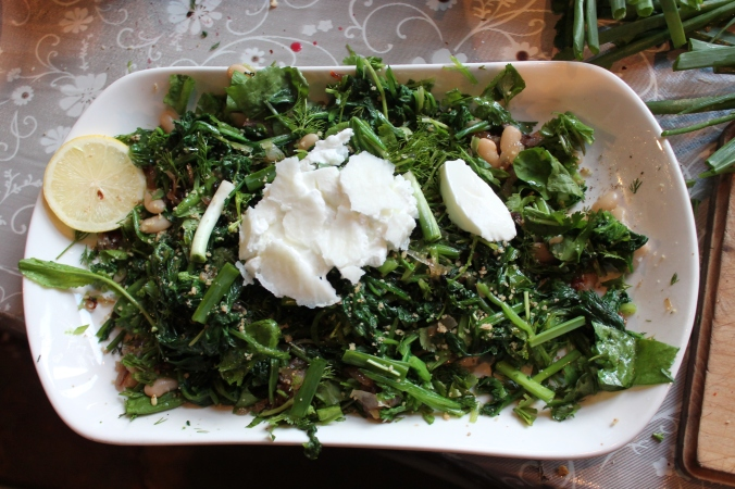 Spinach and watercress salad with water buffalo yogurt