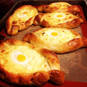 Ajaran khachapuri with quail eggs